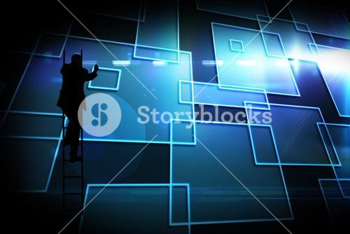 Composite image of black background with shiny squares