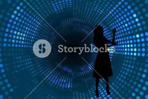 Composite image of futuristic dotted blue and black background