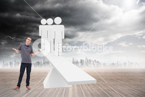 Composite image of man shrugging his shoulders