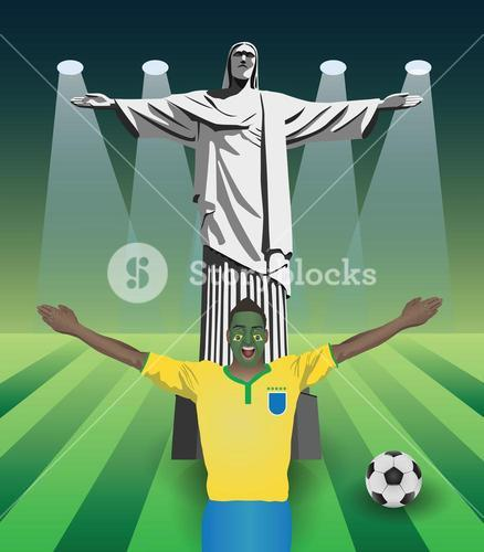 Fifa world cup fan with christ the redeemer statue