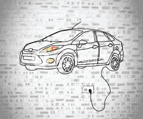 Electric car doodle plugged into wall