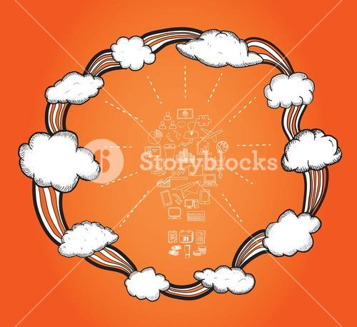 Cloud computing cycle vector