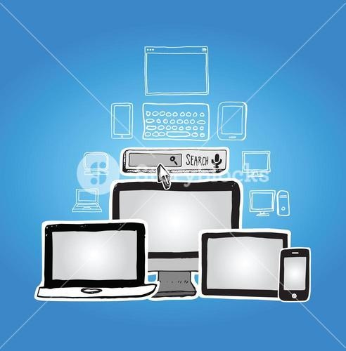 Media devices vector with internet search bar