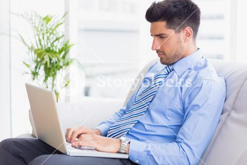 Businessman sitting on couch using his laptop