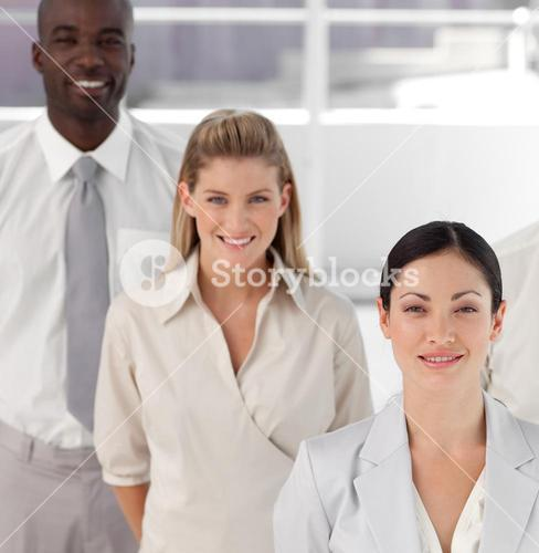 High Angle Potrait shot of Three person Business team