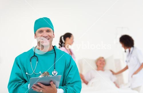 Medical group of Five people looking at camera