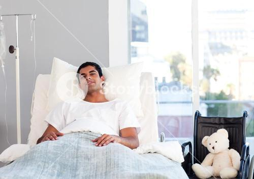 Patient resting in bed