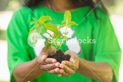 Mid section of woman in green recycling t-shirt holding young plant