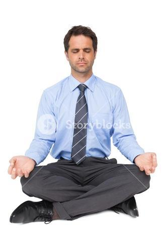 Zen businessman meditating in yoga pose