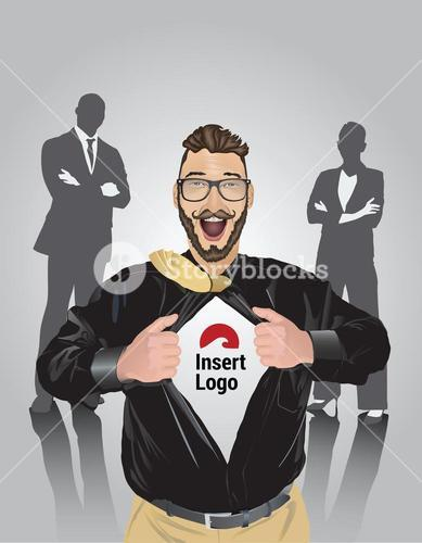 Happy bearded businessman pulling open shirt to reveal your logo