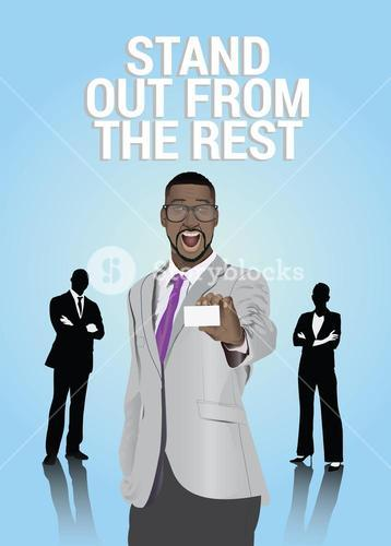 Excited businessman showing business card