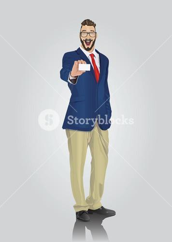 Happy well dressed businessman showing white card