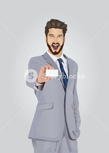 Smiling well dressed businessman showing business card