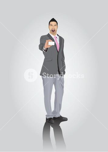 Smiling businessman with facial hair showing business card