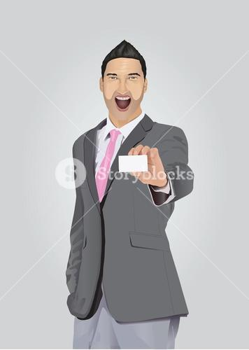 Excited businessman with facial hair showing business card