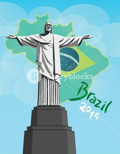 Christ the redeemer statue with brazil flag