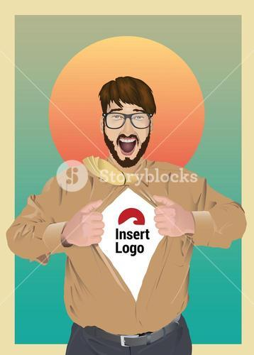 Excited businessman opening shirt to reveal your logo