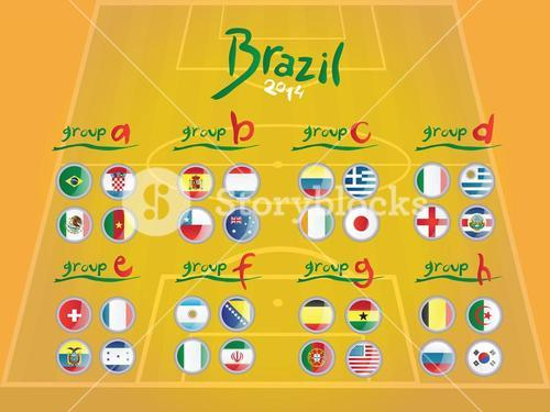 Fifa world cup groups with flags vector