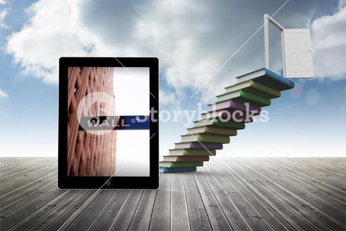 Composite image of wall street on tablet screen