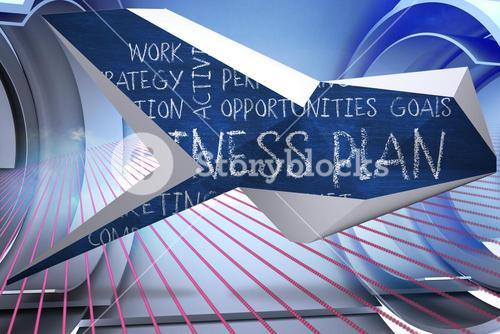 Composite image of business plan on abstract screen
