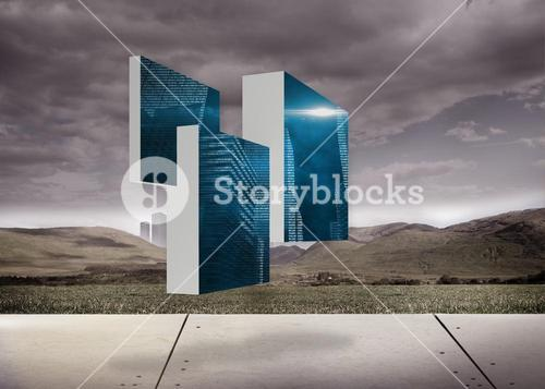 Composite image of digital city on abstract screen