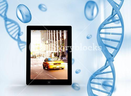 Composite image of yellow taxi on tablet screen
