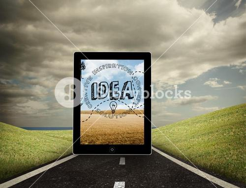 Composite image of idea graphic on tablet screen