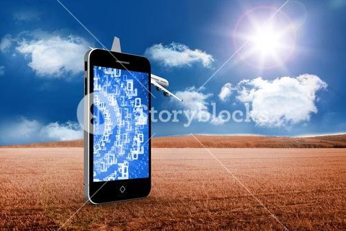 Composite image of binary code on smartphone screen