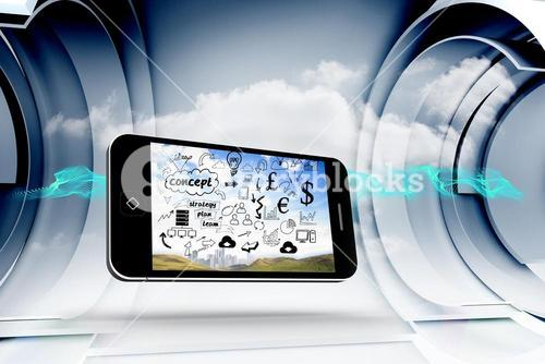 Composite image of brainstorm on smartphone screen
