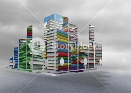 Composite image of piles of books on abstract screen