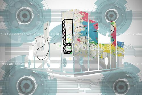 Composite image of exclamation mark on abstract screen