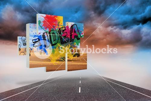 Composite image of idea on abstract screen