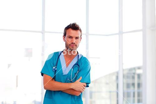 Handsome doctor isolated in hospital