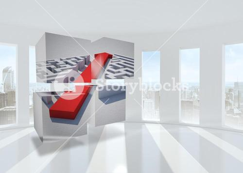 Composite image of arrow through maze on abstract screen