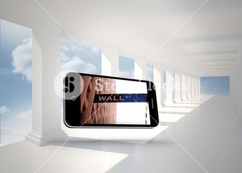 Composite image of wall street on smartphone screen