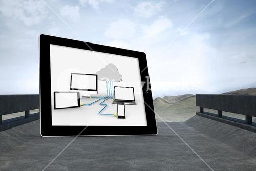 Composite image of cloud computing graphic on tablet screen