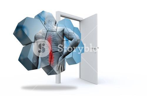 Composite image of back injury diagram on abstract screen