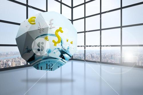 Composite image of time is money graphic on abstract screen