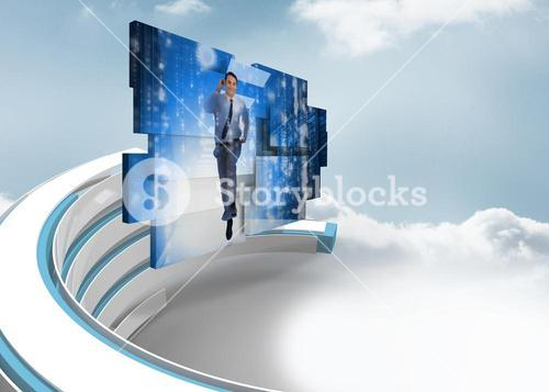 Composite image of businessman in data center on abstract screen