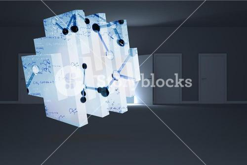 Composite image of microscopic cells on abstract screen