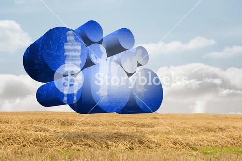 Composite image of digital business people on abstract screen