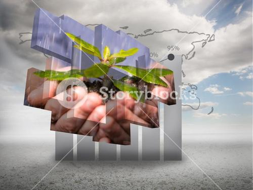 Composite image of hands holding shrub on abstract screen
