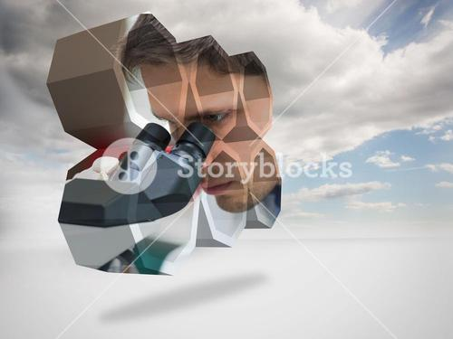 Composite image of scientist on abstract screen
