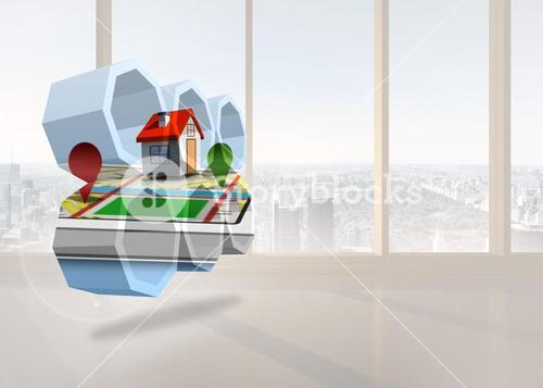 Composite image of house on a map on abstract screen