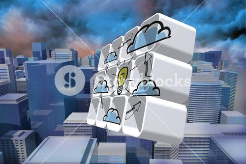 Composite image of cloud computing idea cycle on abstract screen