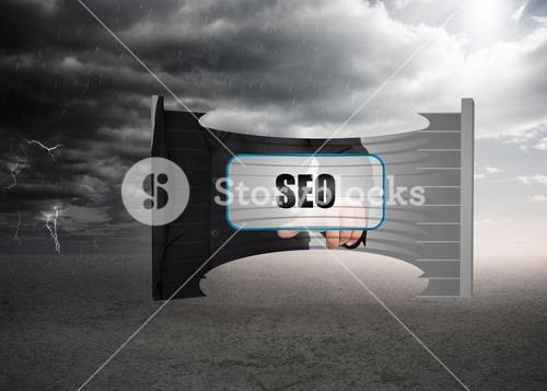Composite image of seo banner on abstract screen