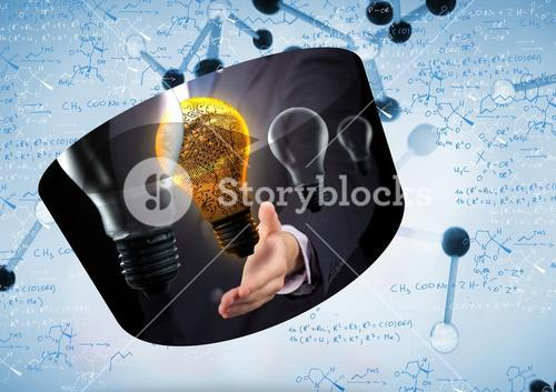 Composite image of light bulb graphic on abstract screen