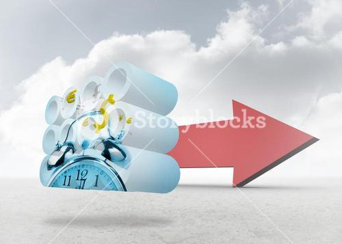 Composite image of time is money concept on abstract screen