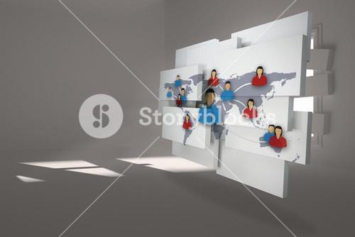 Composite image of international community on abstract screen