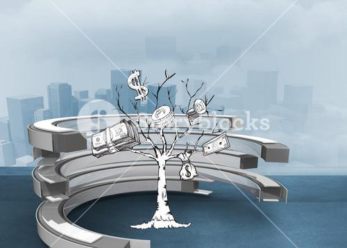 Composite image of money tree in a curved structure